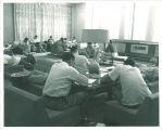 Studying in the Iowa Memorial Union, the University of Iowa, 1950s?