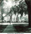 Pentacrest with Homecoming corn monument in background, The University of Iowa, 1947