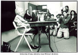 Mildred Wirt Benson speaking to reporters at the Nancy Drew Conference, The University of Iowa, April 17, 1993