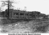 Quadrangle barracks under construction, The University of Iowa, 1918