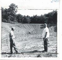 Construction of Ray Mueller farm livestock pond, 1963