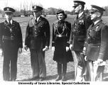 Honorary Cadet Colonel Nona Mae Seberg with officers of the day at Pershing Rifles regimental meet, April 27, 1940
