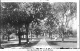 View up central walk, The University of Iowa, June 1895