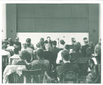 French composer Darius Milhaud lecturing to a composition class, The University of Iowa, 1961