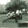 Children climbing on wood platforms and ladders, The University of Iowa, May 28, 1941