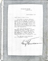 Letter from President Harry S. Truman to Hubert Dwight Hough.