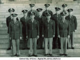 Headquarter staff of the Dept. of Military Science on steps of the Old Capitol, The University of Iowa, ca. 1943