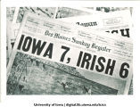 Des Moines Sunday Register headline on Iowa football victory over Notre Dame, The University of Iowa, November 12, 1939