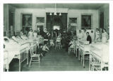 Santa Claus visiting ward in Children's Hospital, The University of Iowa, 1926