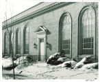 Music Building entrance during winter, the University of Iowa, 1940s
