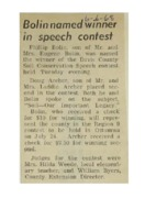1968 - Bolin Named Winner in Speech Contest