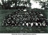 Iowa coach Burt Ingwersen with football team, The University of Iowa, 1930
