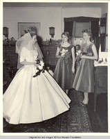 Frindy, Betsy and Vidie Burden in dining room on Frindy's wedding day
