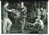 Engineering students working on aviation engines, The University of Iowa, 1940