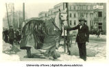 Horse wearing coat in Mecca Day parade, The University of Iowa, 1923