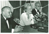 Mary Louise Smith in press conference with Assemblyman Joseph Margiotta and Richard Rosenbaum, Nassau County, N.Y., June 19, 1975