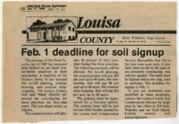 Feb. 1 deadline for soil signup