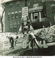 Alpha Tau Omega fraternity house decorated for Homecoming, The University of Iowa, November 1940