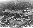 Iowa Stadium (now Kinnick Stadium), Field House/Armory, The University Hospital, Iowa River, Iowa City, Iowa, between 1957 and 1960