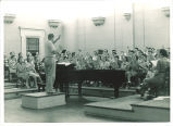 University chorus rehearsing in Old Music Building, The University of Iowa, 1930s