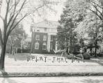 "Beta Theta Pi Homecoming lawn display, """"Splat that Cat,"""" 1953"