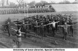 Cadets physical exercise on Iowa Field, The University of Iowa, 1919