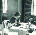 Student looking into microscope, The University of Iowa, 1930s