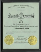 Commemorative plaque honoring Lee County Soil Conservation Districts' twenty-five years of operation.