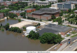 Aerial photographs of Main Library flooding, The University of Iowa, June 16, 2008