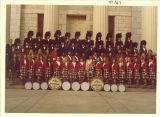 Scottish Highlanders on Old Capitol steps, The University of Iowa, 1960s