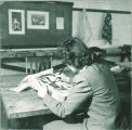 Art student painting in tablet, The University of Iowa, 1949