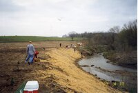 1999 - Flint Creek stream bank after being reshaped on Richard Osborn's property by volunteers<br />