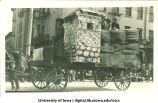 Replica of a stone fort on parade float, The University of Iowa, 1910s