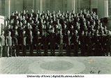 Cadets of Company F on steps of the Old Capitol, The University of Iowa, ca. 1943