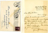 Margaret E. Webb bookplate exchange, Muriel Alderman hand written letter to Helen Patricia (Patsy) Wilson.