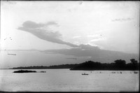 LR 315  Sunset, river, man in boat