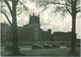 Cars parked in front of the University of Iowa Hospitals and Clinics, the University of Iowa, August 1933