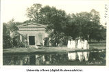Men and women in Greek costume in front of mock Greek temple at City  Park, The University of Iowa, 1915