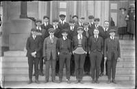 UP676 Seventeen boys and two girls on Burlington High School steps