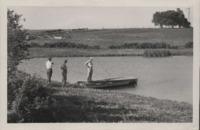 Men Inspect a Farm Pond.