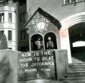 "Stevenson House lawn display, """"Now is the Hour to Beat the Jayhawks"""", Homecoming, 1958"