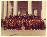 University of Iowa Scottish Highlanders on steps of Old Capitol, 1975 or 1976