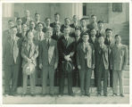 Engineers from China on the steps of Old Capitol, The University of Iowa, October 1945