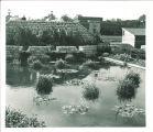 Pool at east end of Iowa Memorial Union footbridge, The University of Iowa, 1940s?
