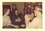 Teacher instructing Scottish Highlander drummers, The University of Iowa, 1970s