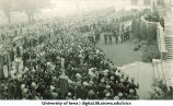 Induction ceremony on west side of Old Capitol, The University of Iowa, 1929