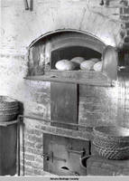Hearth oven with bread, Amana, Iowa, 1900s