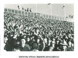 Iowa fans cheering at football game, The University of Iowa, November 11, 1939?