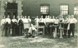 Mechanical engineering students with woodworking projects, The University of Iowa, 1920s