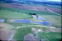 Aerial photo of ponds and farmland in Cherokee County, Iowa.